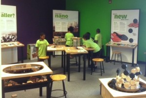 Kids enjoying the Nano Exhibit in Ingram Planetarium's Science Hall.